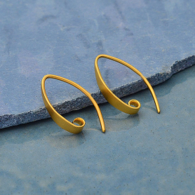 24K Gold Plated Smooth Ear Hook with Hidden Loop 18x3mm