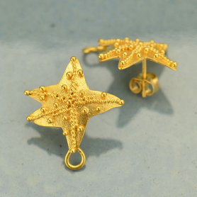 Granulated Starfish Post Earring 24K Gold Plate DISCONTINUED