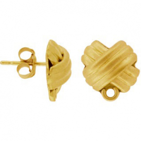Gold Stud Earring Parts - Cross with Loop in 24K Gold Plate