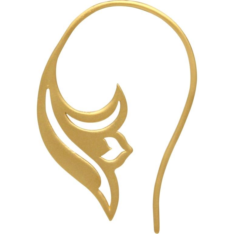 Gold Earrings - Lotus Scroll in 24K Gold Plate