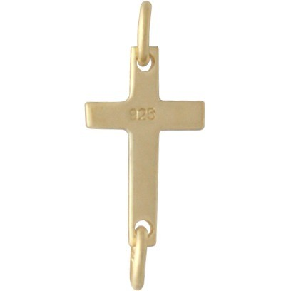 Gold Charm Links - Cross with 14K Gold Plate 6x17mm