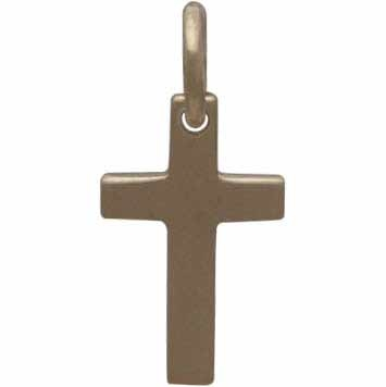 Gold Charms - Cross with 14K Shiny Gold Plate