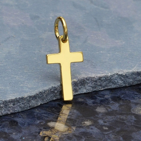 Gold Charms - Cross with 14K Shiny Gold Plate 15x7mm