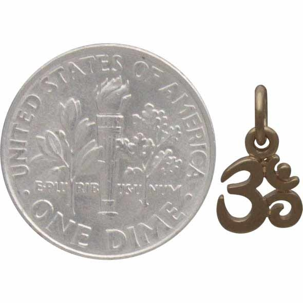 Gold Charm - Tiny Om with 14K Shiny Gold Plate 13x7mm