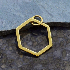 14K Shiny Gold Plated Single Honeycomb Charm 19x14mm