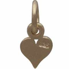 Gold Charm - Tiny Heart with 14K Shiny Gold Plate 11x5mm