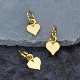 Gold Charm - Tiny Heart with 14K Shiny Gold Plate