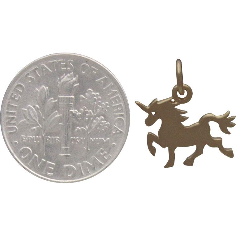 Gold Charm - Unicorn with 14K Shiny Gold Plate 15x14mm