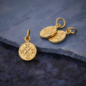 14K Shiny Gold Plated Compass Charm 14x8mm