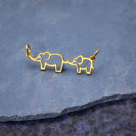 14K Shiny Gold Plated Mama and Baby Elephant Pendant 12x30mm