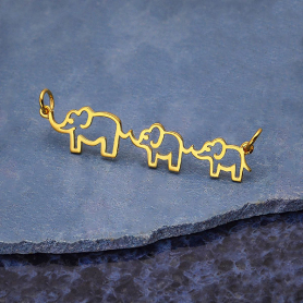 14K Gold Plated Mama and Two Baby Elephant Festoon 12x45mm