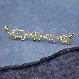 14K Gold Plated Mama and Three Baby Elephant Pendant 12x55mm