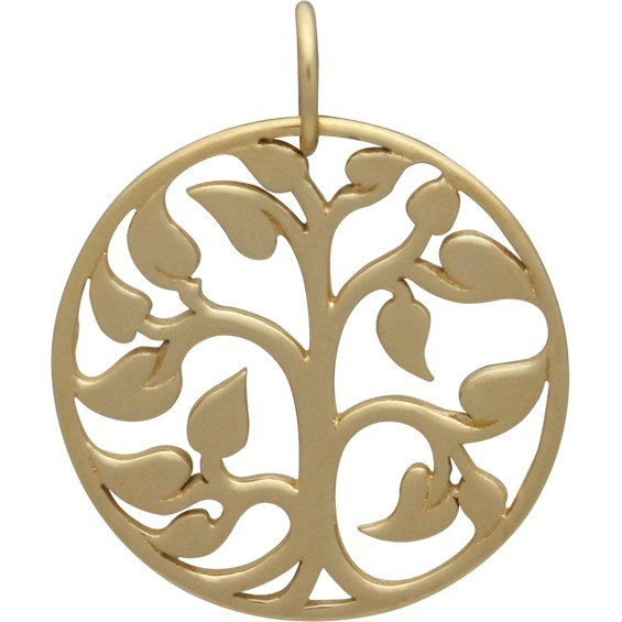 Gold Charms - Tree of Life with 14K Gold Plate 24x20mm