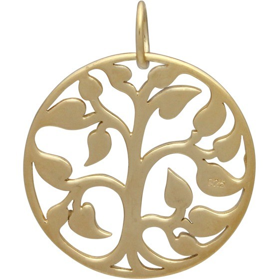 Gold Charms - Medium Tree of Life with 14K Gold Plate