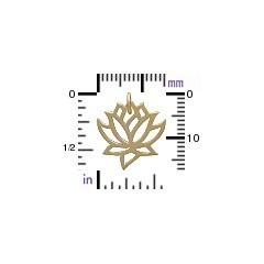 14K Shiny Gold Plated Lotus Charm 18x15mm