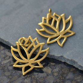 14K Shiny Gold Plated Lotus Charm 18x15mm