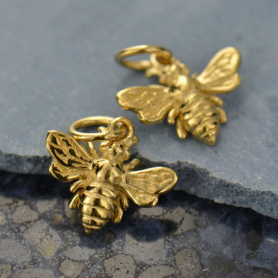 14K Shiny Gold Plated Small Bee Charm 14x12mm
