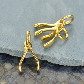 Gold Charms - Small Wishbone with 14K Gold Plate