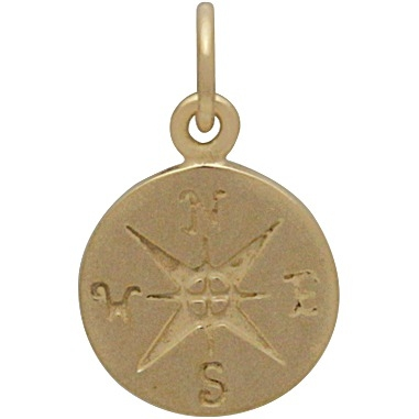 14K Shiny Gold Plated Sterling Silver Compass Charm 16x10mm