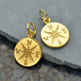 14K Shiny Gold Plated Sterling Silver Compass Charm -16mm