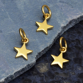 14K Shiny Gold Plated Sterling Tiny Flat Star Charm 12x6mm