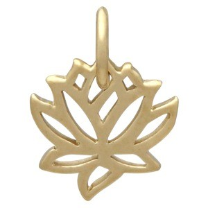 Gold Charms - Tiny Lotus with 14K Gold Plate 12x9mm