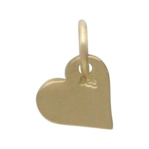 Gold Charms - Small Heart Dangle with 14K Gold Plate 10x7mm
