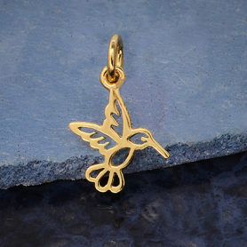 14K Shiny Gold Plated Hummingbird Charm 16x10mm