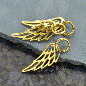 Gold Charms - Tiny Wing with 14K Gold Plate 18x6mm