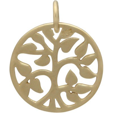 Gold Charms - Small Tree of Life in 14K Gold Plate 17x13mm