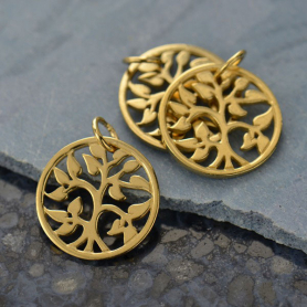 Gold Charms - Small Tree of Life in 14K Gold Plate