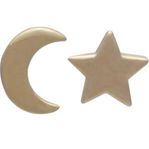 14K Shiny Gold Plated Star and Moon Post Earrings 7x5mm