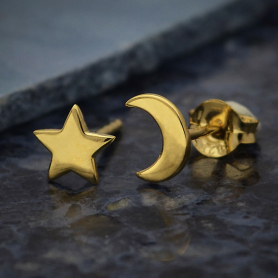 14K Shiny Gold Plated Star and Moon Post Earrings