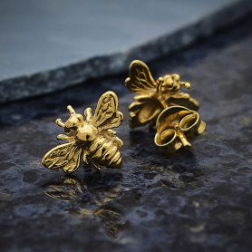 14K Shiny Gold Plated Bee Post Earring 9x11mm