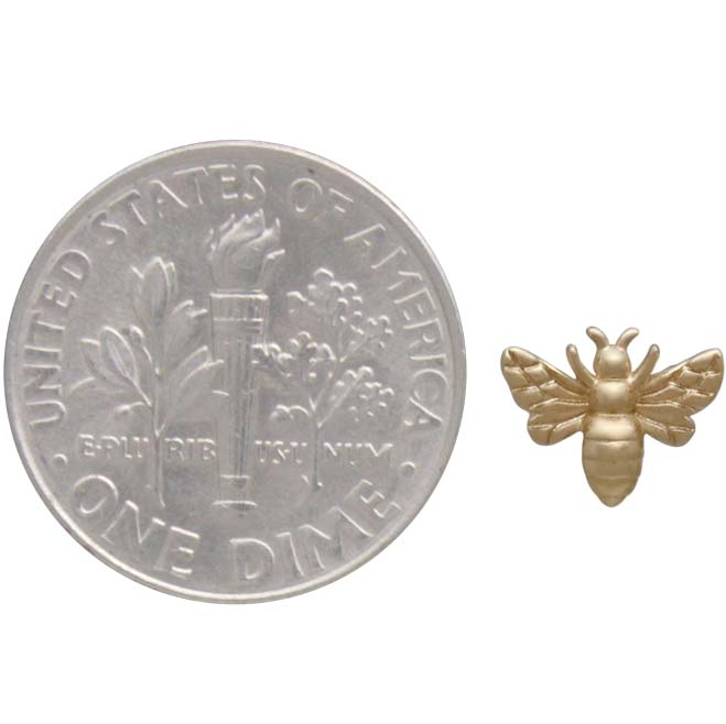 14K Shiny Gold Plated Tiny Bee Post Earrings 6x8mm