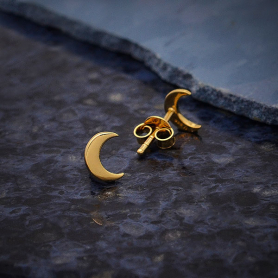 14K Shiny Gold Plated Crescent Moon Post Earrings 7x5mm