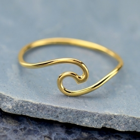Wave Ring in 14K Shiny Gold Plate
