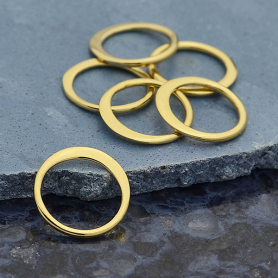 Jewelry Part - Half Hammered Circle Link 14K Gold Plate -9mm
