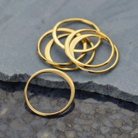 Half Hammered Circle Link in 14K Shiny Gold Plate -12mm