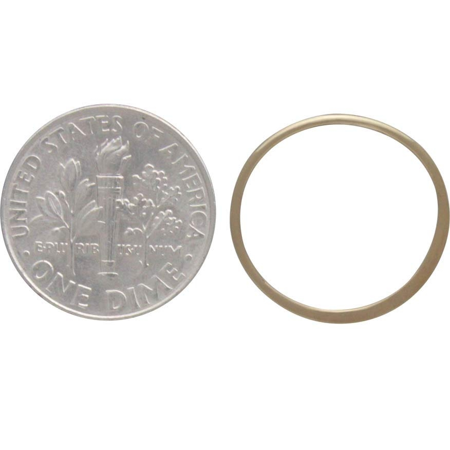 14K Shiny Gold Plated Half Hammered Circle Link 18x18mm