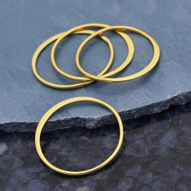 Jewelry Part - 14K Gold Plate Half Hammer Circle Link -18mm