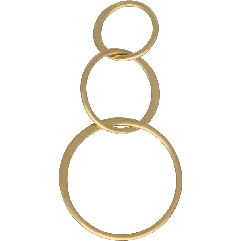 14K Shiny Gold Plate Three Circles of Life Link 19x36mm