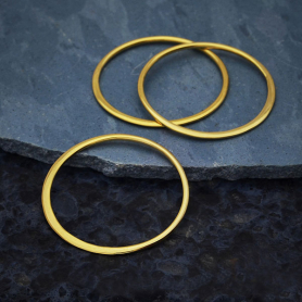14K Gold Plate Half Hammered Circle Jewelry Link 24mm