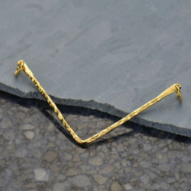 Jewelry Parts - Hammered Chevron Pendant in 14K Gold Plate