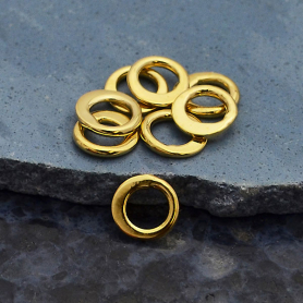 14K Gold Plate Half Hammered Circle Jewelry Link 6mm