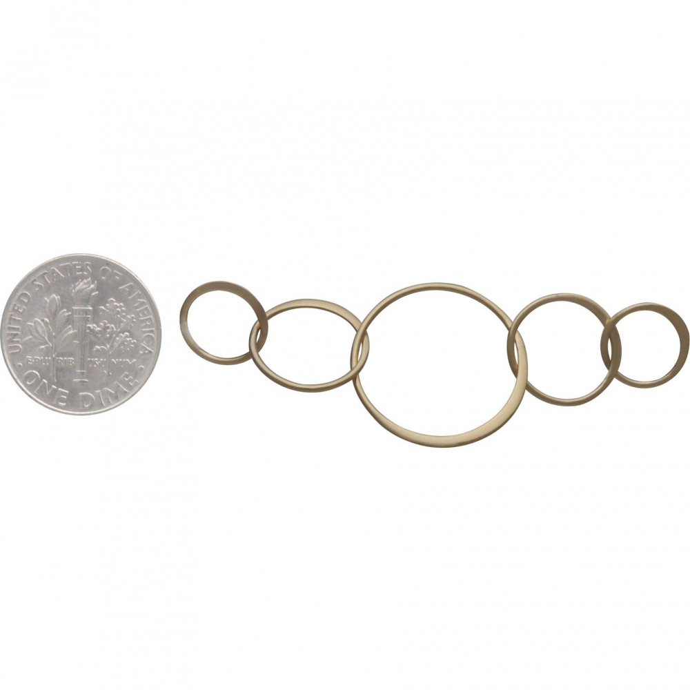 14K Shiny Gold Plate Five Circles of Life Link -57mm