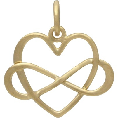 14K Shiny Gold Plated Medium Infinity Heart Charm 18x16mm