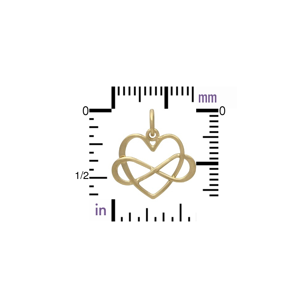 Gold Pendants - Medium Infinity Heart with 14K Gold Plate
