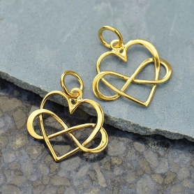 14K Shiny Gold Plated Medium Infinity Heart Charm 18x16mm