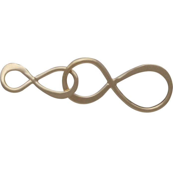 14K Shiny Gold Plated Big and Little Infinity Link 8x30mm